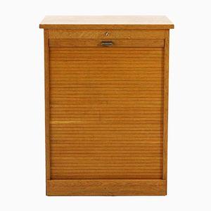 Vintage Oak Office Cabinet with Tambour Door, 1960s