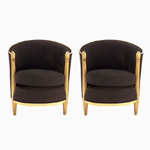 Vintage Art Deco Gilded Armchairs, Set of 2