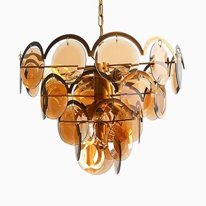 Italian Brass Chandelier with Cut Glass from Vistosi, 1960s