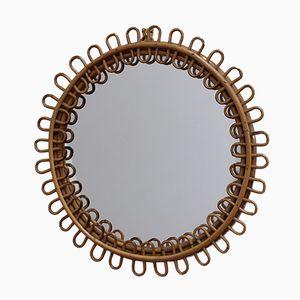 Specchio Mid-Century in vimini e bambù, Francia, anni '60