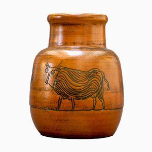 Vase in Brüniertem Orange mit Tiermotiv von Jacques Blin, 1960er