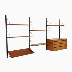 Vintage Royal System Wall Unit in Teak with Black Brackets by Poul Cadovius
