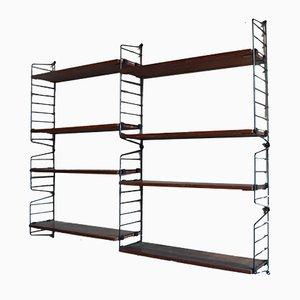 Teak & Iron Modular Wall Shelves, 1969, Set of 2