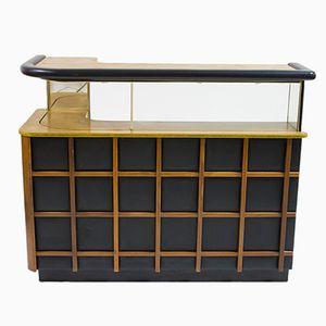 Teak and Black Vinyl Home Dry Bar, 1960s