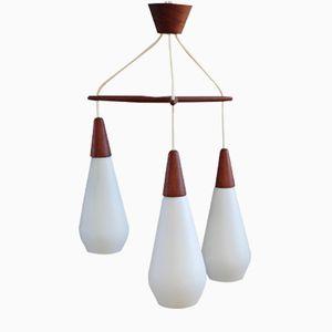 Mid-Century Cascade Lamp in Teak with Opaline Glass