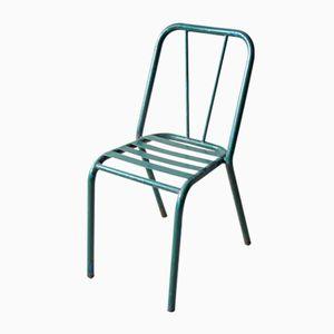 Sedia da bistrò vintage in metallo verde, anni '40