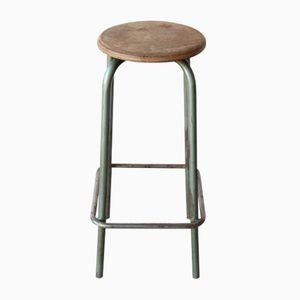Vintage Industrial Green Stool, 1940s