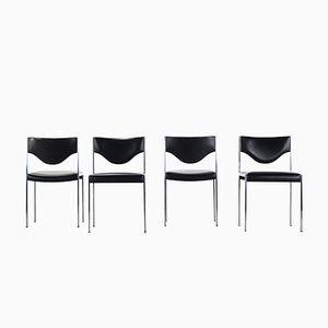 Dining Chairs in Skai & Stainless Steel from Lübke, 1970s, Set of 4