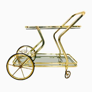 Golden Brass Bar Trolley with Double Smoked Glass Shelf, 1960s