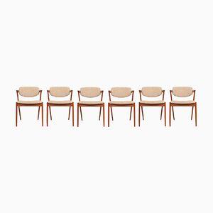Vintage Modell 42 Esszimmerstühle von Kai Kristiansen für Schou Andersen, 6er Set