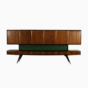 Italian Rosewood Veneer & Treated Glass Sideboard, 1950s