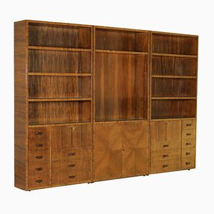 Three-Piece Bookcase in Rosewood Veneer & Glass, 1940s