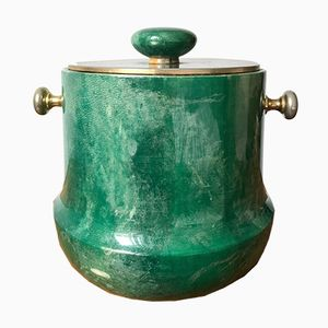 Ice Bucket in Malachite Green Lacquered Goat Skin & Brass by Aldo Tura, 1950s