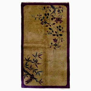 Antique Chinese Handmade Art Deco Rug, 1920s