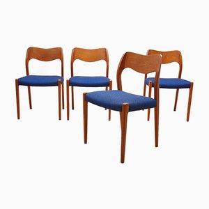 No. 71 Teak Dining Chairs by Niels O. Møller for J.L. Møllers, 1960s, Set of 4