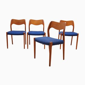Nr. 71 Teak Esszimmerstühle von Niels O. Møller für J.L. Møllers, 1960er, 4er Set