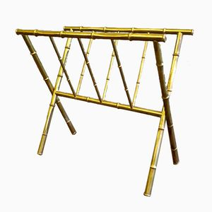 Brass Magazine Rack from Maison Bagues, 1950s