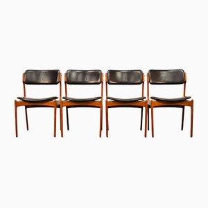Modell 49 Teak Esszimmerstühle von Erik Buch für Odense Mobelfabrik, 1960er, 4er Set