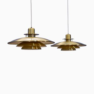 Mid-Century Brass Pendant Lights, 1960s, Set of 2
