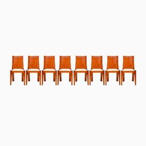 Art Deco Walnut Dining Chairs, 1930s, Set of 8