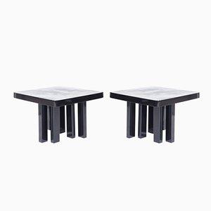 Belgian Black Resin Side Tables by Fernand Dresse, 1970s, Set of 2