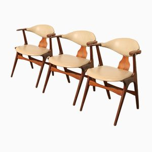 Cow Horn Stühle von Louis van Teeffelen für AWA, 1950er, 3er Set