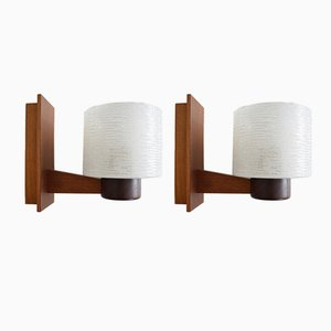 Vintage Danish Teak Sconces, Set of 2