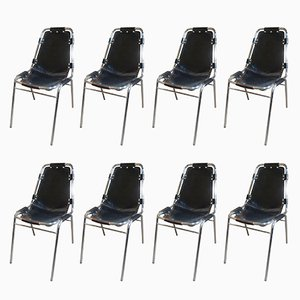 Black Leather Chairs by Charlotte Perriand for Cassina, 1960s, Set of 8