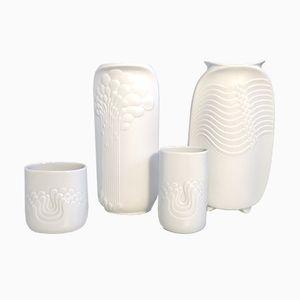 Vases Mid-Century Blancs de Kaiser Germany & Thomas Germany, Set de 4