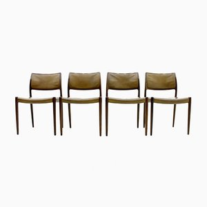 Model 80 Palisander & Leather Chairs by Niels O. Møller, 1960s, Set of 4
