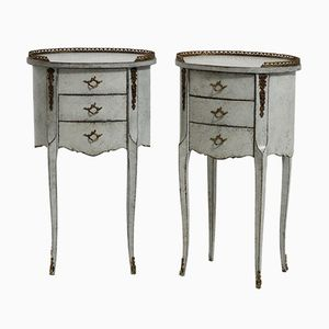 Antique French Side Tables with Bronze Details, Set of 2
