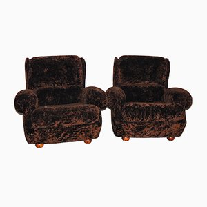 Braune Italienische Sessel, 1950er, 2er Set