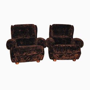 Italian Brown Armchairs, 1950s, Set of 2