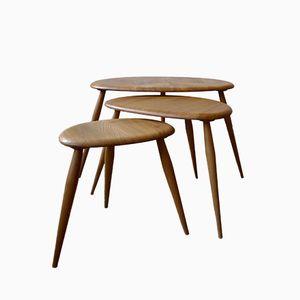 Modell 354 Windsor Serie Pebble Tische aus Ulmenholz von Lucian Ercolani für Ercol, 1960er