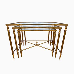 French Vintage Nesting Tables from Maison Jansen, 1950s, Set of 3