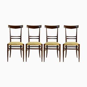 Italian Beech & Foam Chairs by Gambarelli, 1950s, Set of 4