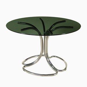 Tavolo in metallo cromato e vetro fumé, anni '70