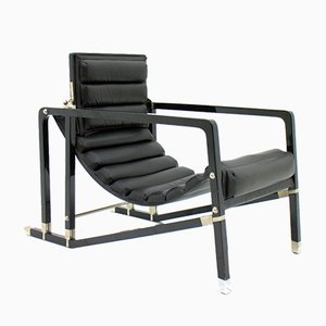 Vintage Black Lounge Chair by Eileen Gray for Ecart International, 1980s