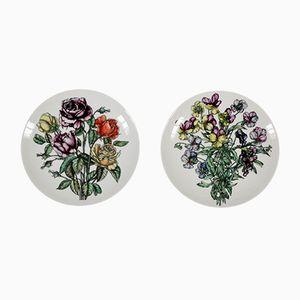 Italienische Vintage Teller aus Porzellan von Atelier Fornasetti, 2er Set