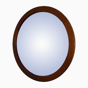 Specchio rotondo in teak di Aksel Kjersgaard per Odder Møbler, anni '50
