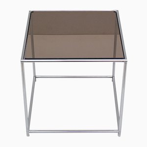 Chrome & Smoked Glass Side Table by Poul Cadovius, 1970s