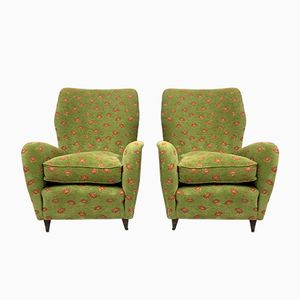 Italian Armchairs with Conical Legs, 1950s, Set of 2