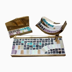 Mid-Century Brass and Mosaic Tile Desk Accessories Set, 1960s