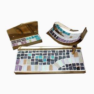 Set da scrivania Mid-Century in ottone con mosaico, anni '60