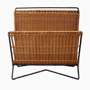 Vintage Italian Wicker and Metal Magazine Rack