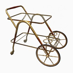 Brass Serving Trolley by Cesare Lacca, 1950s