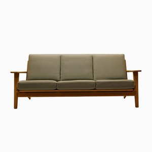 Vintage GE290 3-Seater Sofa in Oak & Wool by Hans J. Wegner for Getama