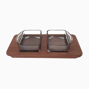 Teak Tray & Glass Bowls, 1960s