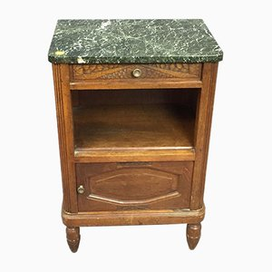 Vintage Art Deco Oak Bedside Table with Gray Marble Top