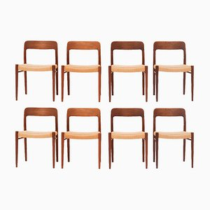 Model 75 Dining Chairs by Niels Otto Møller for J.L. Møllers, 1950s, Set of 8